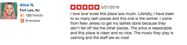 Best eyelash extension salon testimonial by real customer