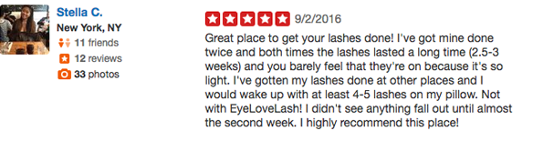 Real Customer Testimonial Best Eyelash Salon NYC